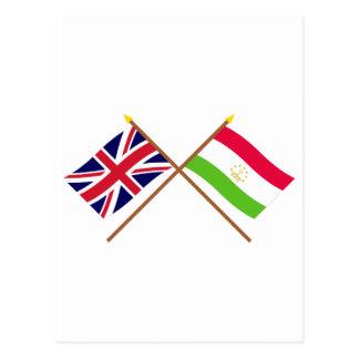 UK and Tajikistan Crossed Flags Postcard