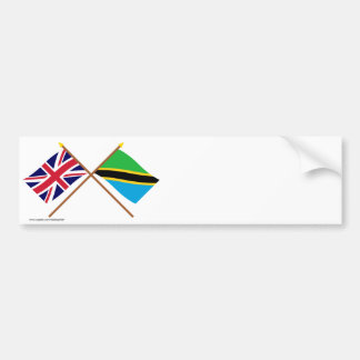 UK and Tanzania Crossed Flags Bumper Sticker