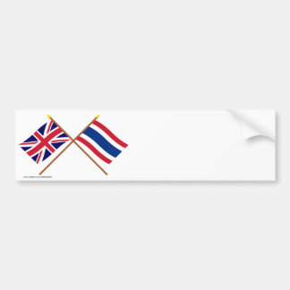 UK and Thailand Crossed Flags Car Bumper Sticker