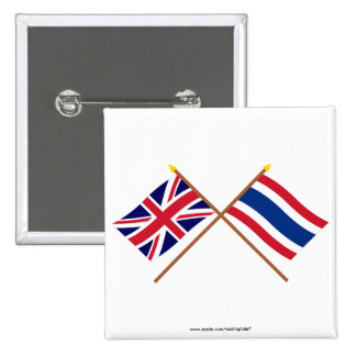 UK and Thailand Crossed Flags Pins