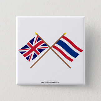 UK and Thailand Crossed Flags Pinback Button