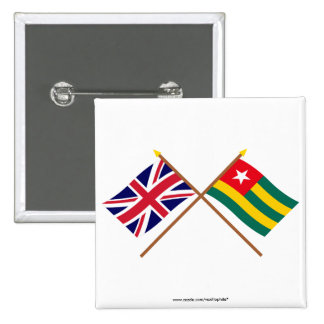 UK and Togo Crossed Flags Pinback Button