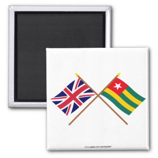 UK and Togo Crossed Flags Fridge Magnets