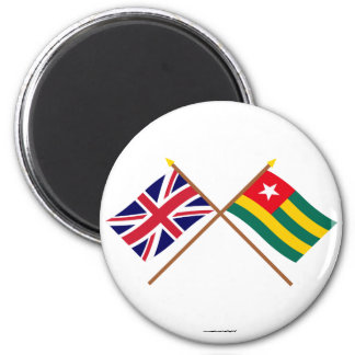 UK and Togo Crossed Flags Refrigerator Magnets