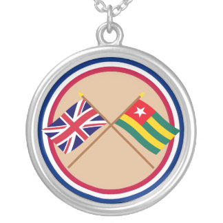 UK and Togo Crossed Flags Personalized Necklace