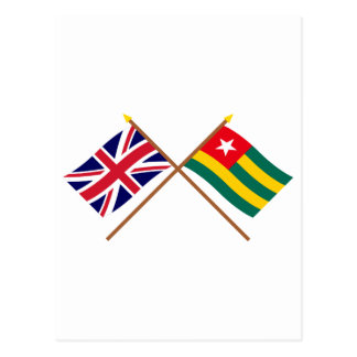 UK and Togo Crossed Flags Post Cards