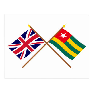 UK and Togo Crossed Flags Postcard
