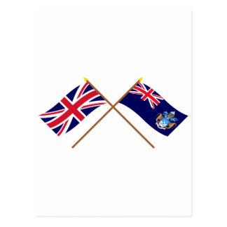 UK and Tristan da Cunha Crossed Flags Postcard