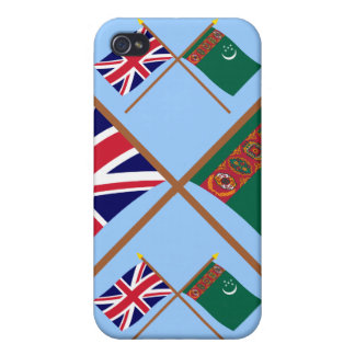 UK and Turkmenistan Crossed Flags iPhone 4/4S Case