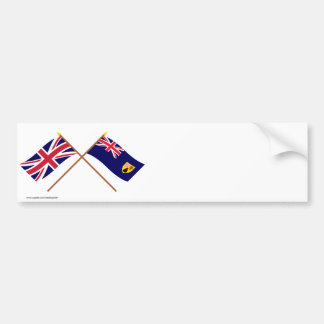 UK and Turks and Caicos Islands Crossed Flags Bumper Sticker