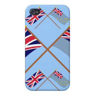 UK and Tuvalu Crossed Flags Case For iPhone 4