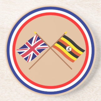 UK and Uganda Crossed Flags Drink Coaster