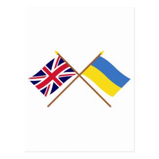 UK and Ukraine Crossed Flags Postcard