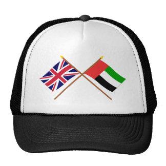 UK and United Arab Emirates Crossed Flags Mesh Hats