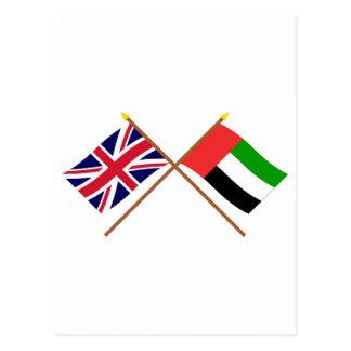 UK and United Arab Emirates Crossed Flags Postcard