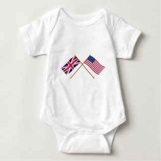 UK and United States Crossed Flags Baby Bodysuit