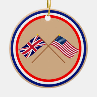 UK and United States Crossed Flags Ceramic Ornament