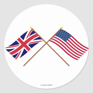 UK and United States Crossed Flags Classic Round Sticker