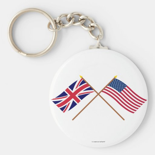 UK and United States Crossed Flags Keychains
