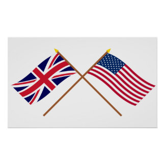 UK and United States Crossed Flags Poster