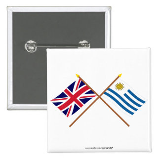 UK and Uruguay Crossed Flags Pinback Buttons