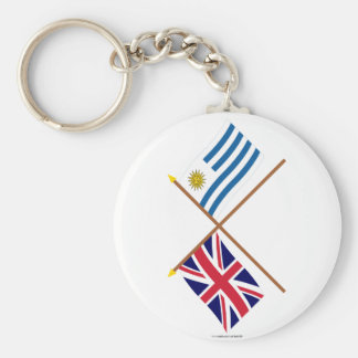 UK and Uruguay Crossed Flags Keychain