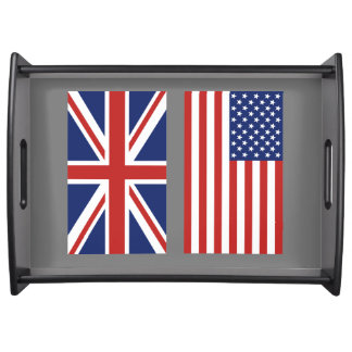 UK and USA Flags. Serving Tray