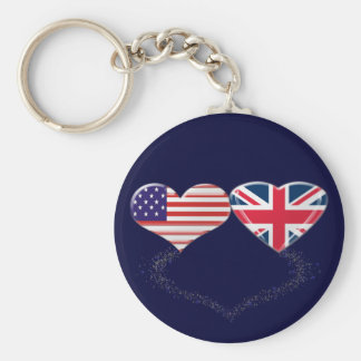 UK and USA Hearts Flag and Ticker tape Keychain