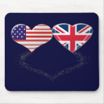 UK and USA Hearts Flag and Ticker tape Mouse Mats