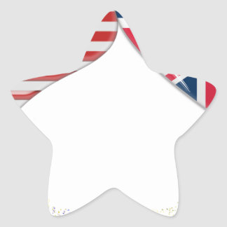 UK and USA Hearts Flag and Ticker tape Star Sticker