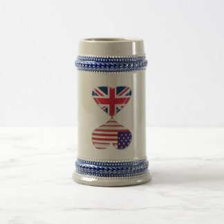 UK and USA Hearts Flag Art Beer Stein
