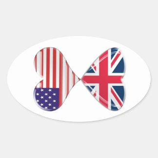 UK and USA Hearts Flag Art Sticker
