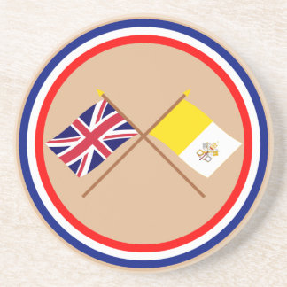 UK and Vatican City Crossed Flags Beverage Coaster
