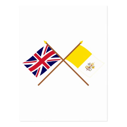 UK and Vatican City Crossed Flags Postcard