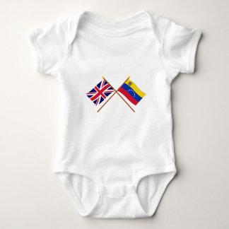 UK and Venezuela Crossed Flags Baby Bodysuit