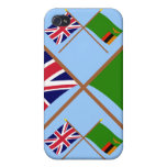 UK and Zambia Crossed Flags iPhone 4 Cover