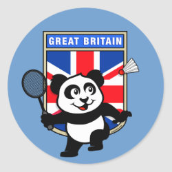 Round Sticker with Great Britain Badminton Panda design
