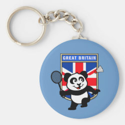 Basic Button Keychain with Great Britain Badminton Panda design