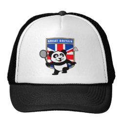 Trucker Hat with Great Britain Badminton Panda design