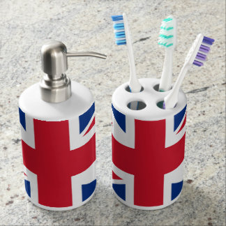 UK Britain Royal Union Jack Flag Soap Dispenser & Toothbrush Holder