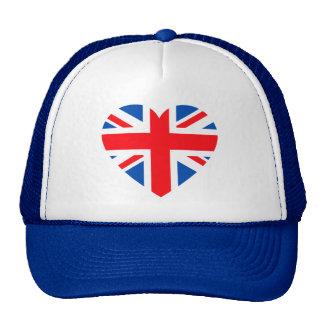 UK British Flag Heart Great Britain Trucker Hat