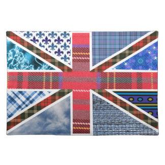 UK British Flag of Tartan and Fabric Patterns Cloth Placemat