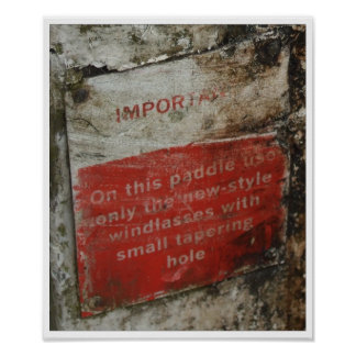 UK Canal System Windlass Sign - grunge appeal Print