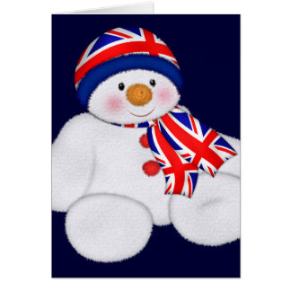UK Christmas Snowman Greeting Card