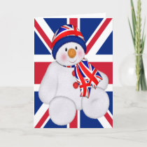 UK Christmas Snowman Holiday Card