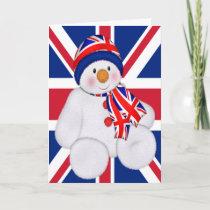 UK Christmas Snowman Holiday Card