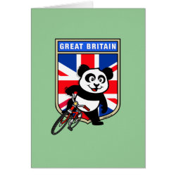 Greeting Card with Great Britain Cycling Panda design
