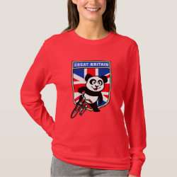 Women's Basic Long Sleeve T-Shirt with Great Britain Cycling Panda design