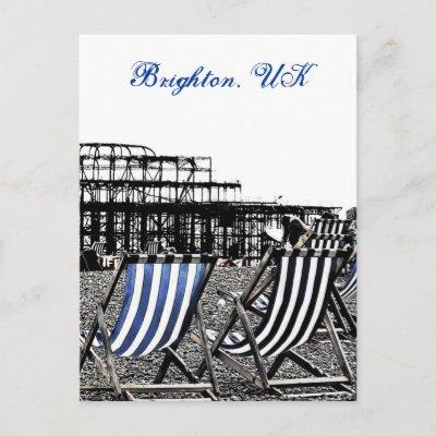 (UK) Empty Deckchairs, burnt Pier Postcard postcard