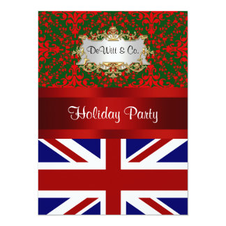 UK England Flag Christmas Holiday Damask 2 V Party Card